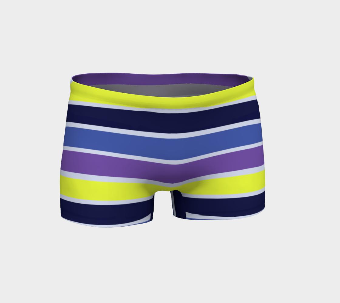 Navy Purple Yellow Stripe Shorts